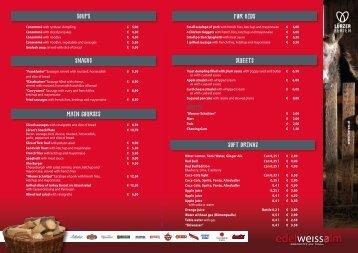 Food & drink menu of Edelweissalm ski-hut