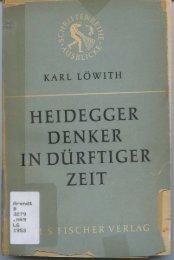Page 1 KARL LÖWITH HEIDEGGER DENKER IN DÚRPTIGER ...