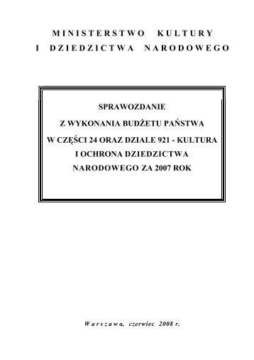Sprawozdanie z wykonania budżetu w cz. 24 - Ministerstwo Kultury i ...