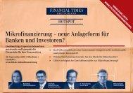 Mikrofinanzierung – neue Anlageform für Banken und Investoren?