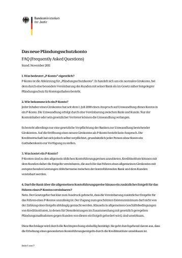 Das neue Pfändungsschutzkonto FAQ (Frequently Asked Questions)