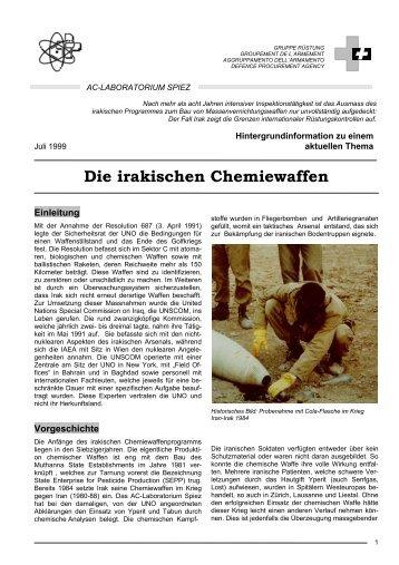 Die irakischen Chemiewaffen (PDF, 707 KB) - Labor Spiez