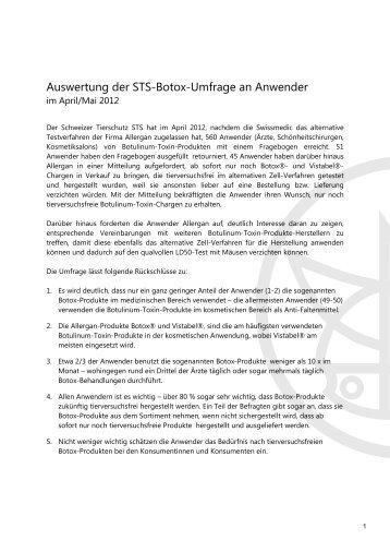 Auswertung STS-Botox-Umfrage an Anwender - Schweizer ...