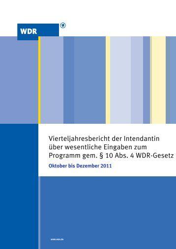 Oktober bis Dezember 2011 - WDR.de