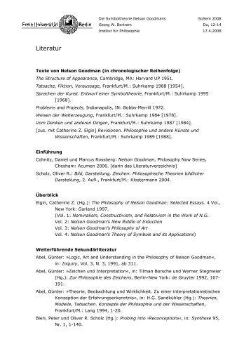 Literatur - Fachbereich Philosophie und Geisteswissenschaften