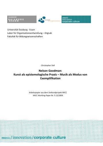 Nelson Goodman: Kunst als epistemologische Praxis ... - MICC Projekt