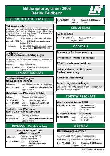 Bildungsprogramm 2008 Bezirk Feldbach