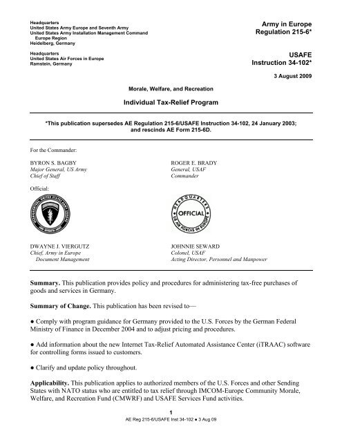 Army In Europe Regulation 215 6 Usag Bamberg Us Army
