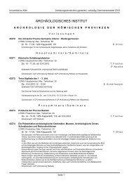 ARCHÄOLOGISCHES INSTITUT - koost - Universität zu Köln