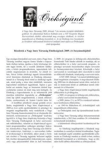 2010. 1. szám - Nagy Imre Társaság