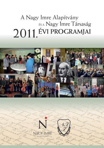2011.ÉVI PROGRAMJAI - Nagy Imre Társaság