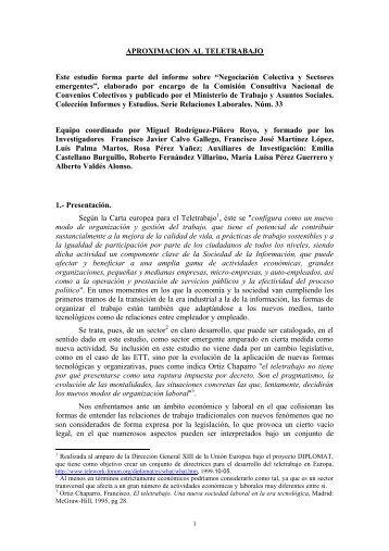 APROXIMACION AL TELETRABAJO Este estudio forma parte del ...