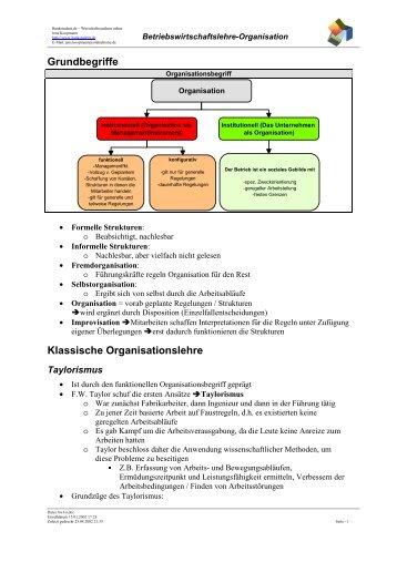 Grundbegriffe Klassische Organisationslehre - Koopis Online World