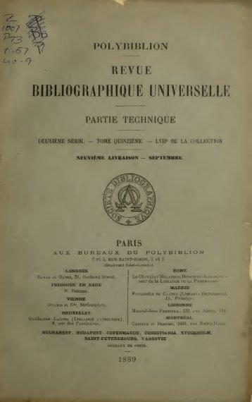 Polybiblion; revue bibliographique universelle - Index of