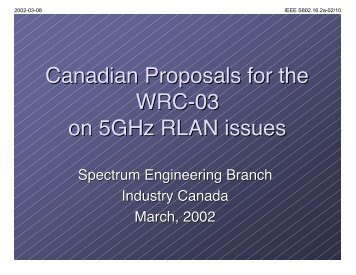 Canadian Proposals for the WRC-03 on 5GHz RLAN issues