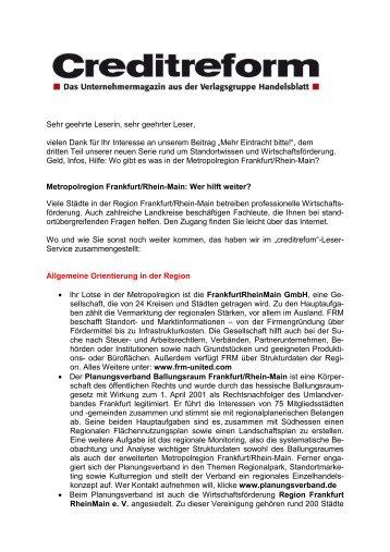 """Leser-Service """"FFM/Rhein-Main"""" - Creditreform"""
