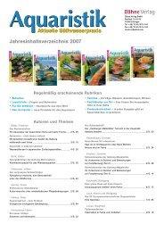 Jahresinhaltsverzeichnis 2007 - Aquaristik aktuell
