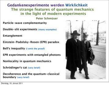 Gedankenexperimente werden Wirklichkeit The strange features of ...