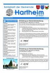 Einladung zur Gemeinderatssitzung - Gemeinde Hartheim