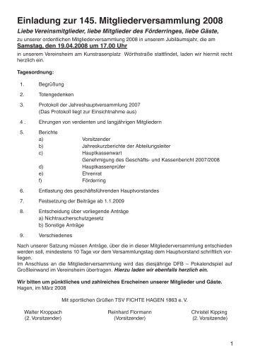 Einladung zur 145. Mitgliederversammlung 2008 - TSV Fichte ...