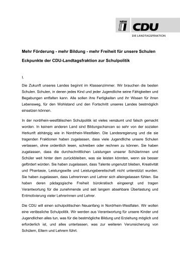 Eckpunktepapier der CDU-Landtagsfraktion zur Schulpolitik