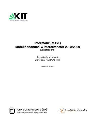 Informatik (M.Sc.) Modulhandbuch Wintersemester 2008/2009