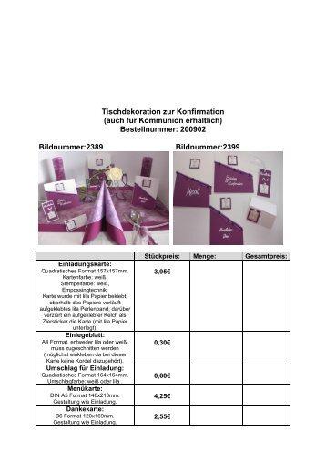Tischdekoration zur Konfirmation (auch für Kommunion erhältlich ...