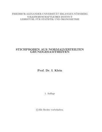 Skriptum zur Vorlesung - Lehrstuhl für Statistik und Ökonometrie