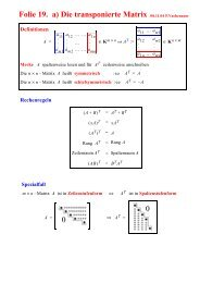 Folie 19. a) Die transponierte Matrix Definitionen