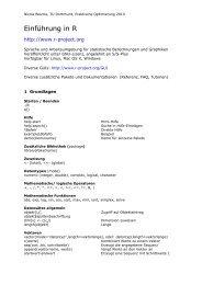 Kurze Übersicht einiger wichtiger Befehle - TU Dortmund
