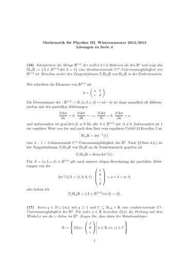 Mathematik für Physiker III, Wintersemester 2012/2013 Lösungen zu ...