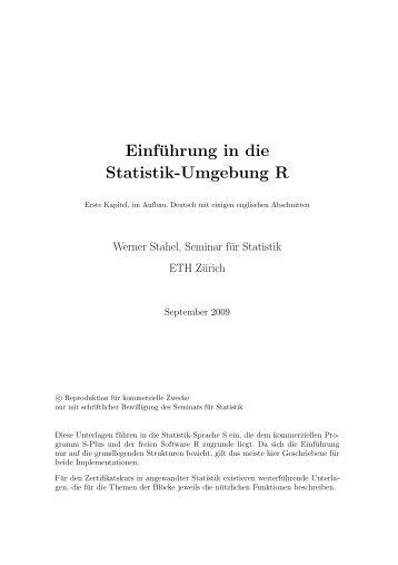 Kapitel 1 bis 4, mehrheitlich deutsch (pdf) - Seminar für Statistik ...