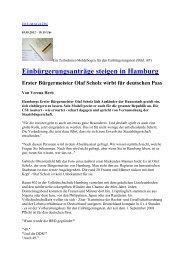 Einbürgerungsanträge steigen in Hamburg Erster Bürgermeister ...