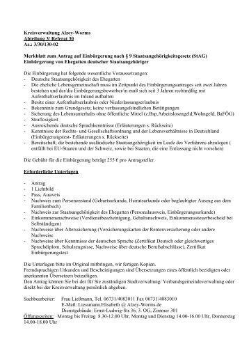 merkblatt zum antrag auf einbrgerung landkreis alzey worms empfehlungsschreiben muster word empfehlungsschreiben - Ausformulierter Lebenslauf Muster