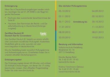 Ihr Weg zur Einbürgerung - Volkshochschule Heidelberg