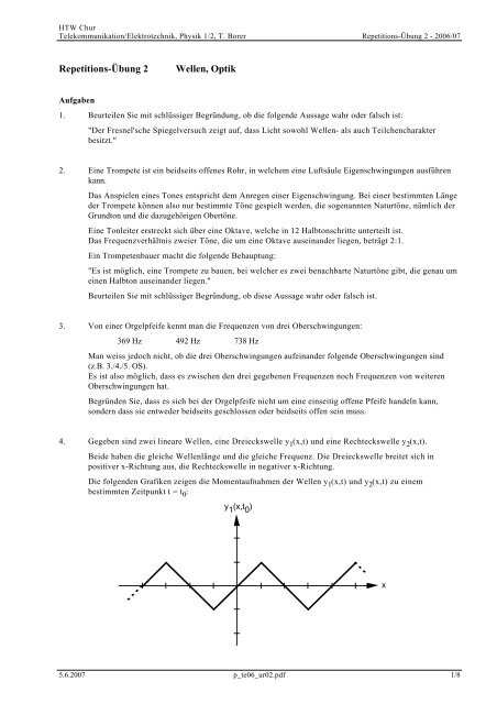 Repetitions-Übung 2 Wellen, Optik - Thomas Borer