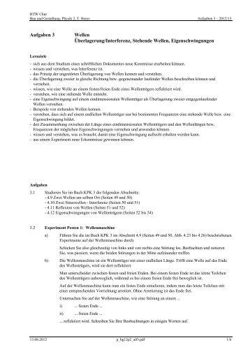 Aufgaben 3 Wellen Überlagerung/Interferenz ... - Thomas Borer