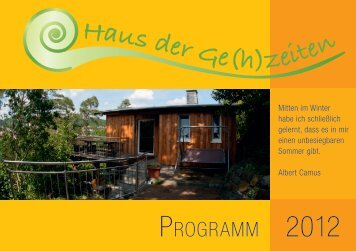 Haus der Gehzeiten Broschur 2012