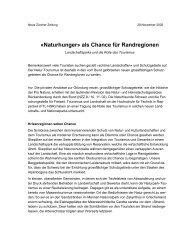 Naturhunger» als Chance für Randregionen - Landschaftspark Binntal