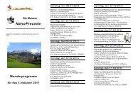 Wanderprogramm 1. Halbjahr 2011 - Naturfreunde