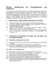 """Seminar """"Stoffwechsel von Triacylglycerinen und Fettsäuren"""""""
