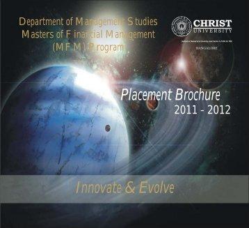 Innovate & Evolve Placement Brochure - Christ University