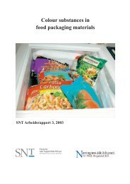 Colour substances in food packaging materials - ESB