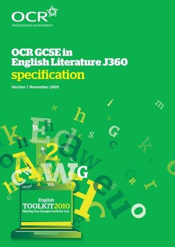 OCR GCSE in English Literature J360