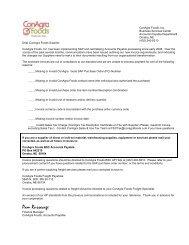 Supplier Invoice Return Letter - ConAgra Foods