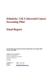 Ethnicity: UK Colorectal Cancer Screening Pilot - Final Report