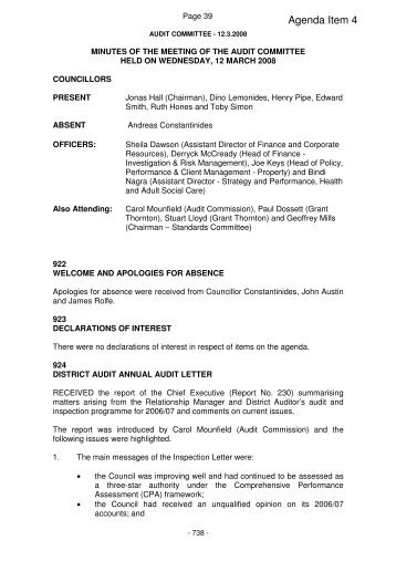 Agenda Item 4 - Meetings, agendas, and minutes - Enfield Council