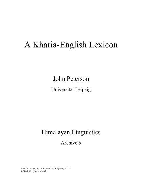 a kharia english lexicon ucsb linguistics