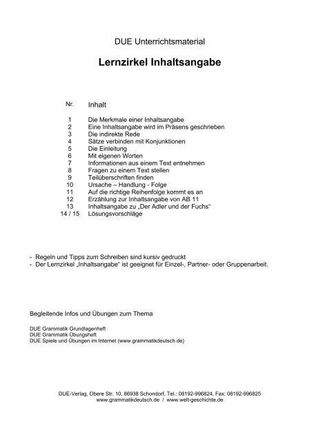 Deutsch Eine Inhaltsangabe Schreiben Nora Kdesign