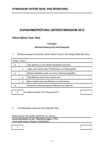 AUFNAHMEPRÜFUNG UNTERGYMNASIUM 2012